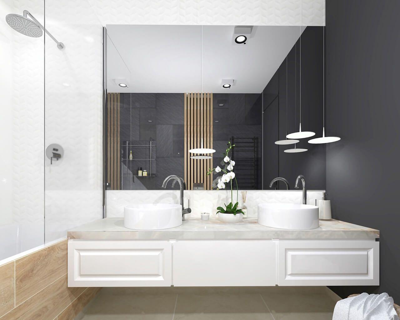 Kamień I Drewno W łazience Z Dwiema Umywalkami Ceramika
