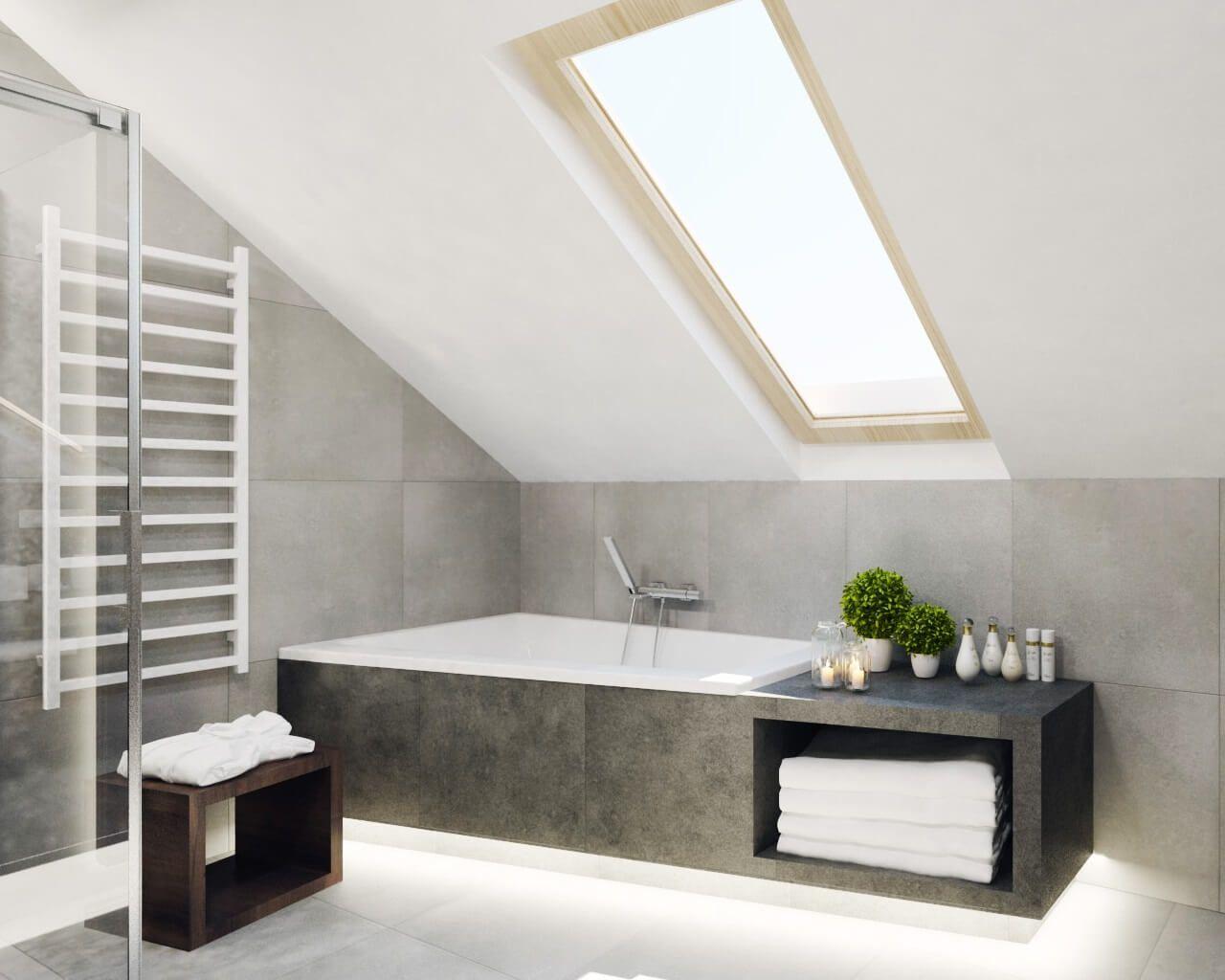 Szara łazienka Z Oknem Dachowym Ceramika Paradyż