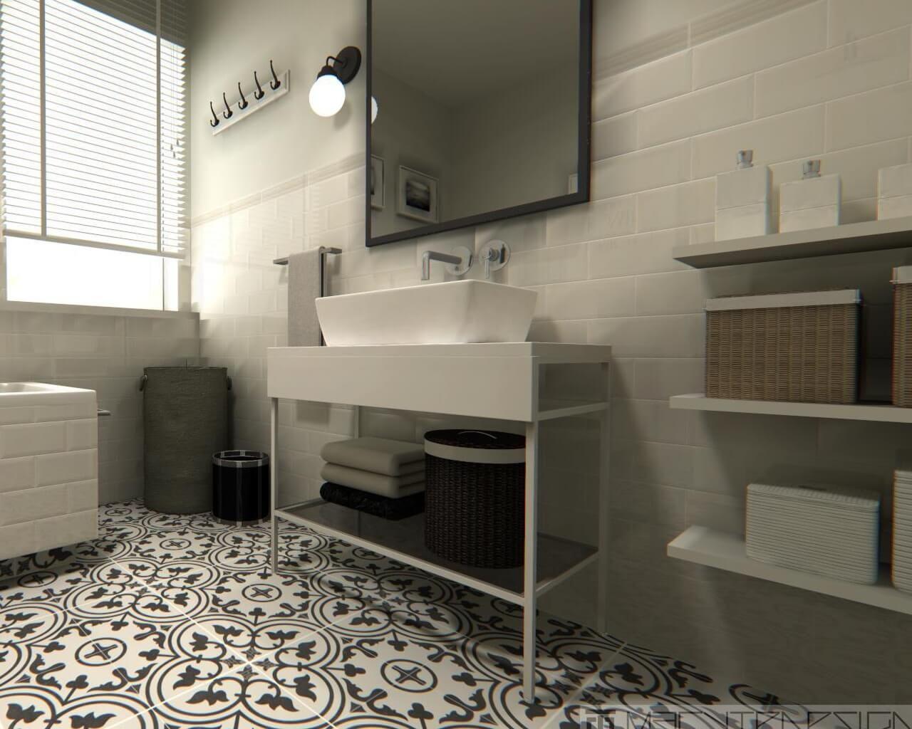 Biała Cegła I Wzorzysta Posadzka W Niedużej łazience