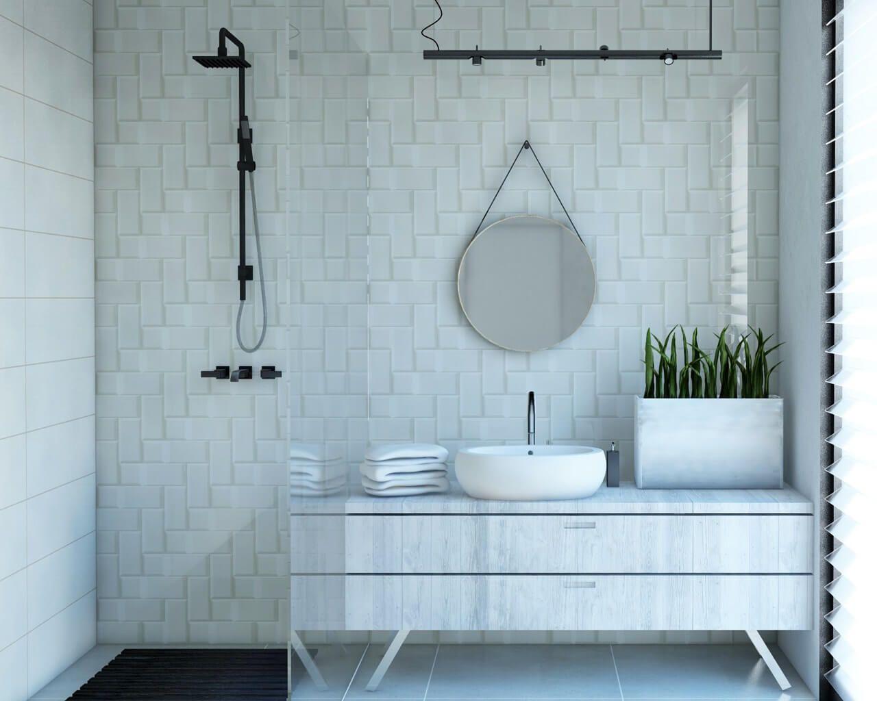 Biała Cegła Prostokąty I Kwadraty W Jasnej łazience