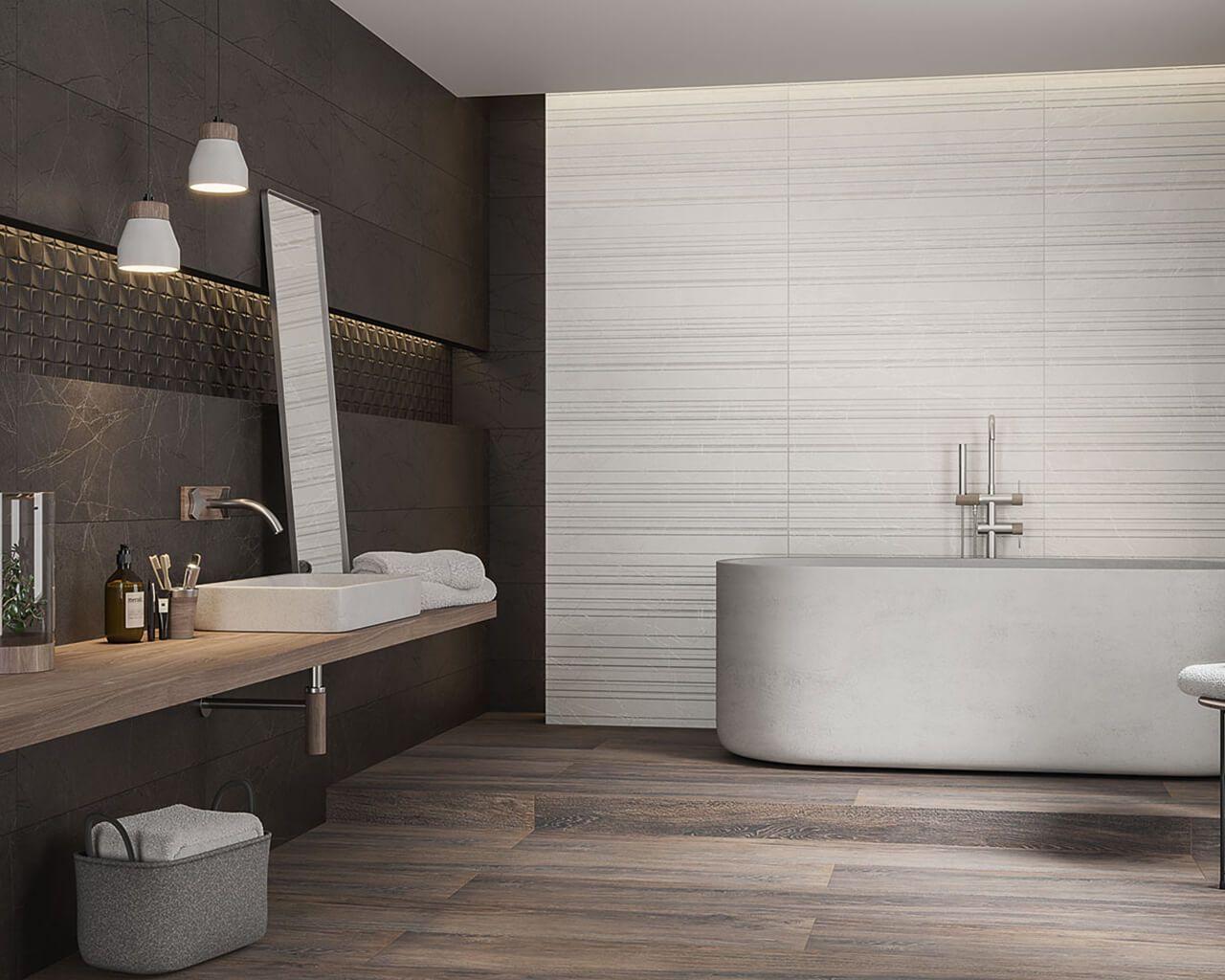 Grau, Beige, Textur und Holz in einem modernen Badezimmer ...