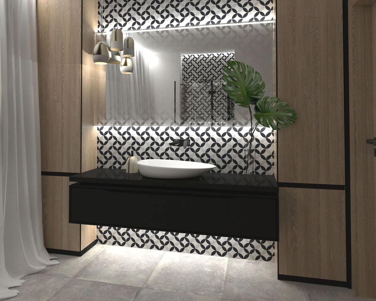 Modna łazienka Przy Sypialni Z Geometrią I Drewnem W Roli