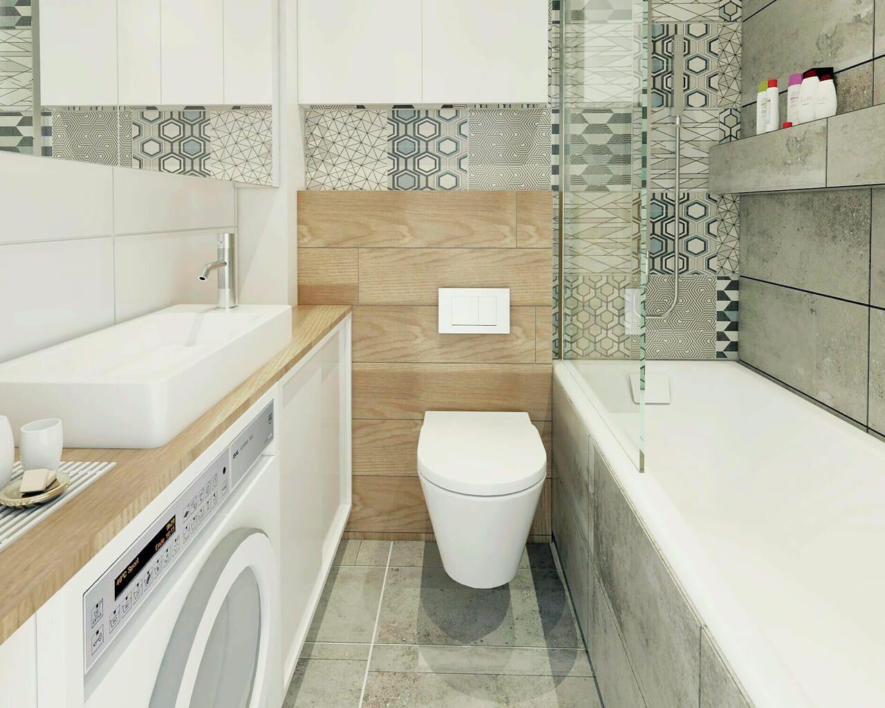 Geometria Biel Kamień I Drewno W łazience Ceramika Paradyż