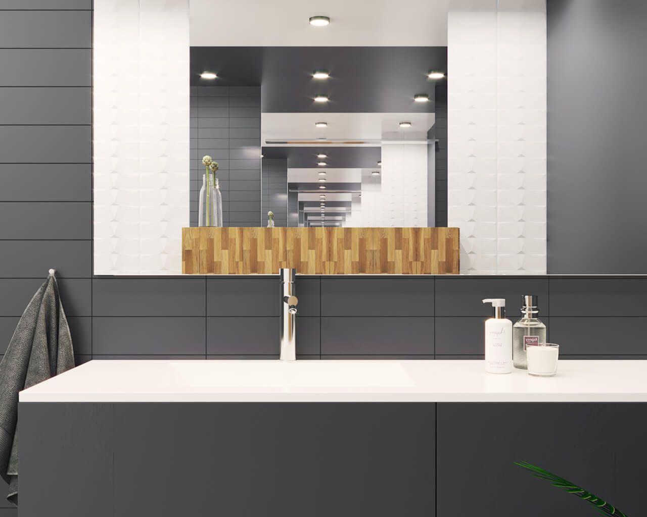 Minimalistyczna łazienka W Szarości Bieli I Drewnie