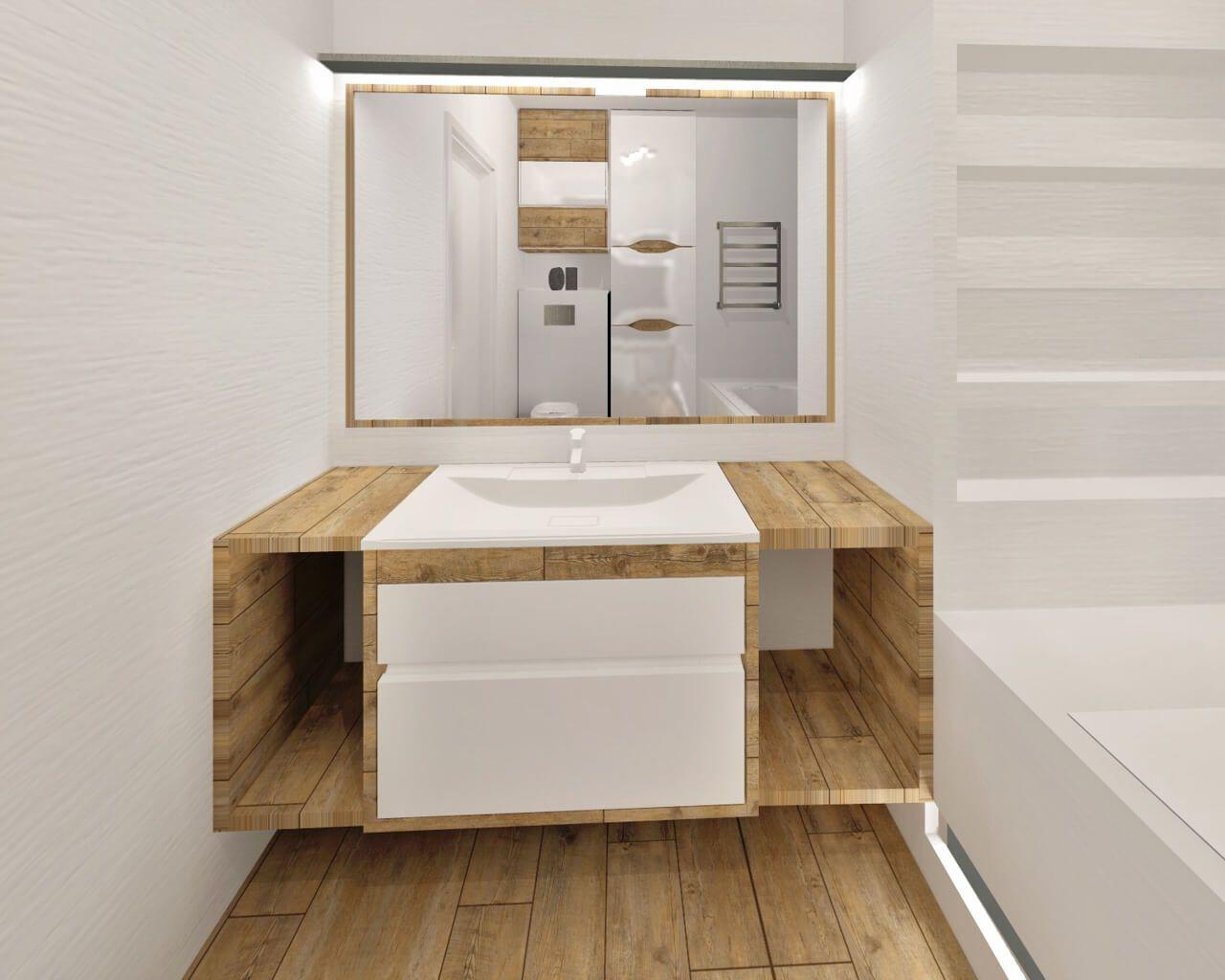 Gładka I Strukturalna Biel Oraz Drewno W Jasnej łazience