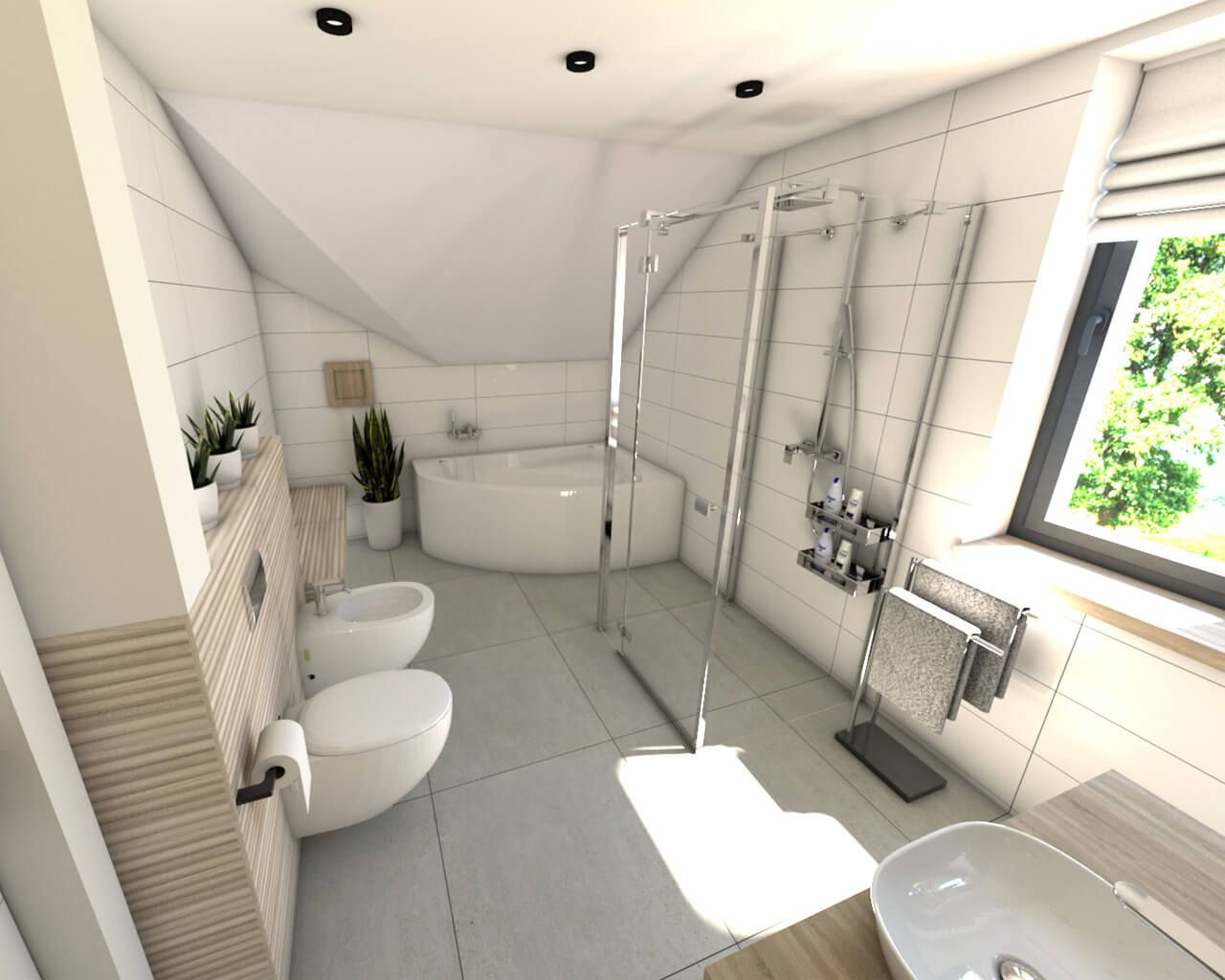 Projekt łazienki W Domu Jednorodzinnym Ceramika Paradyż