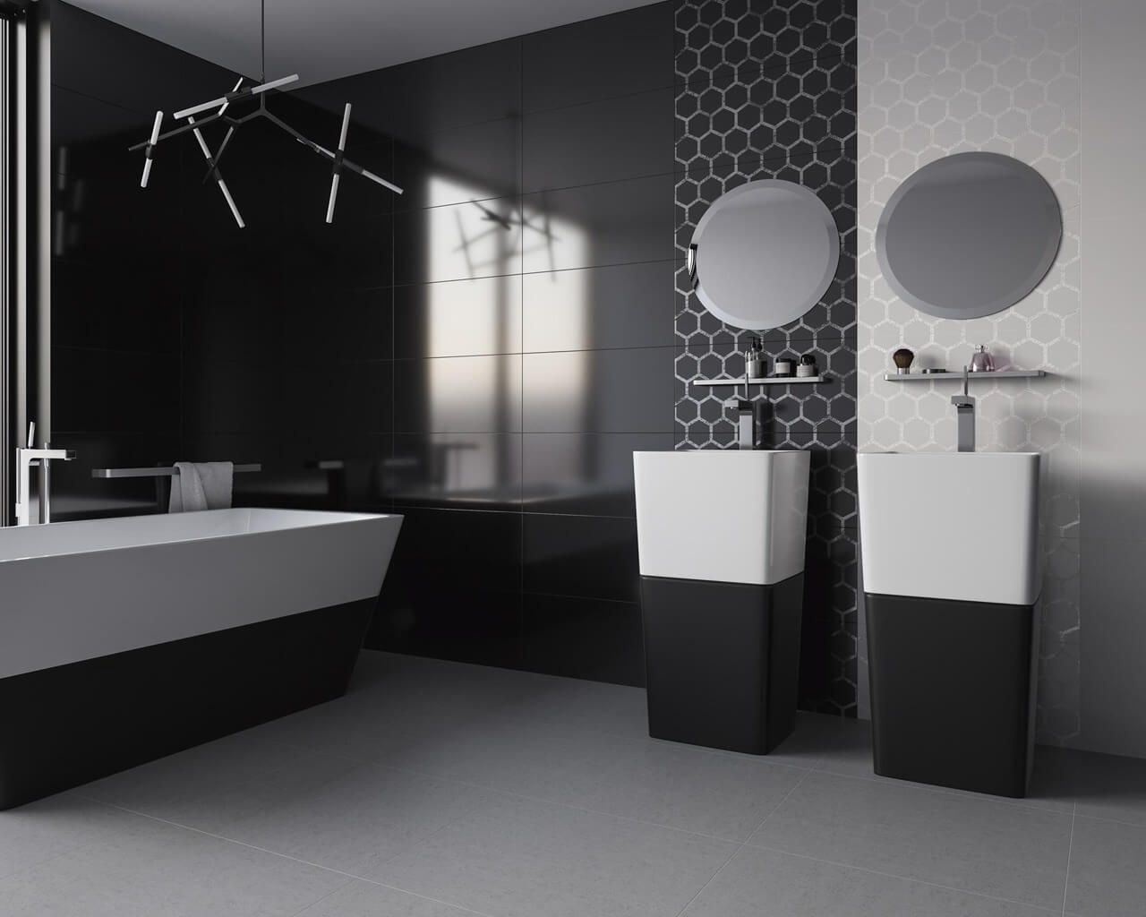 Black And White Bathroom With A Geometric Motif Ceramika