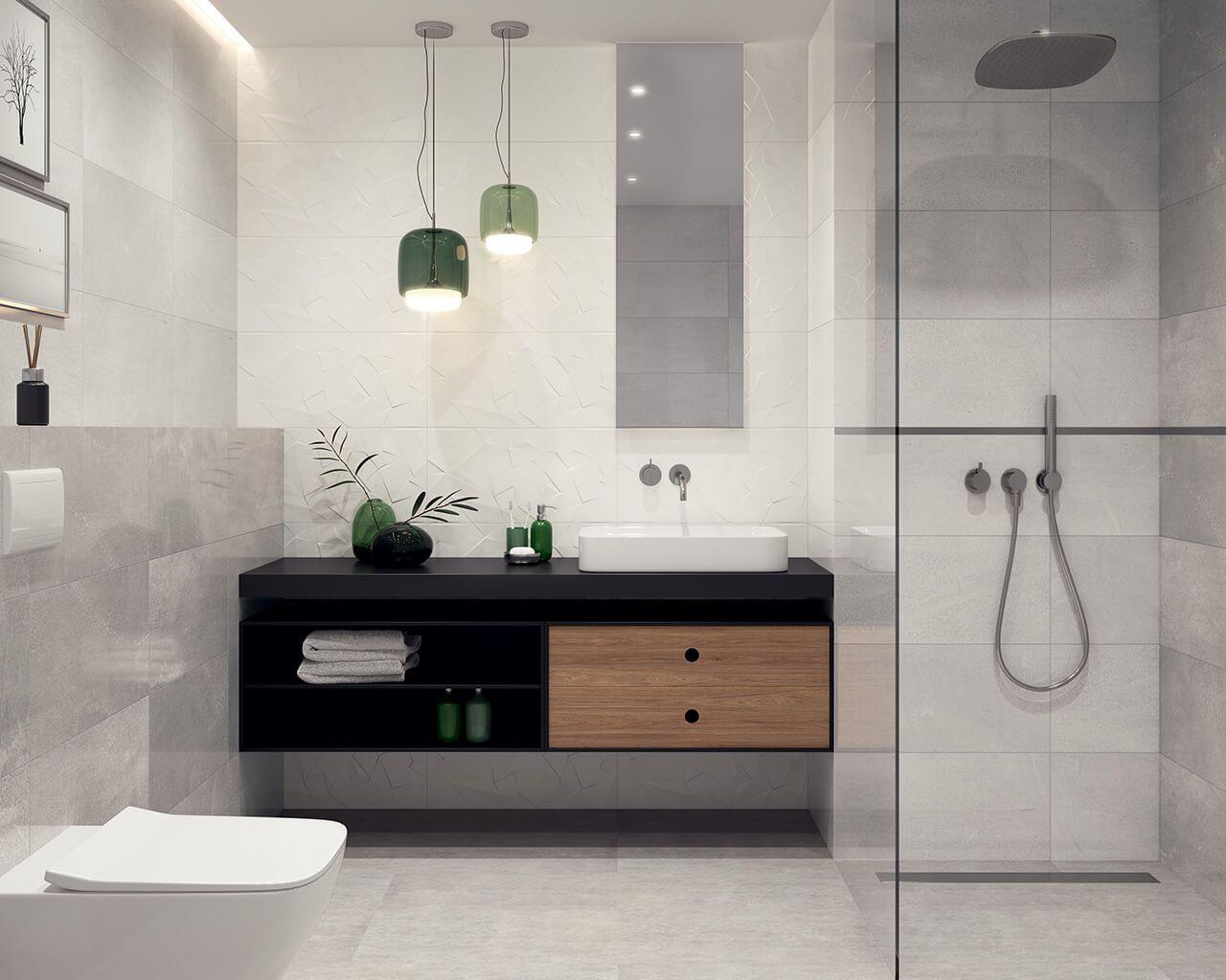 Modernes Badezimmer in Grau mit begehbarer Duschkabine ...