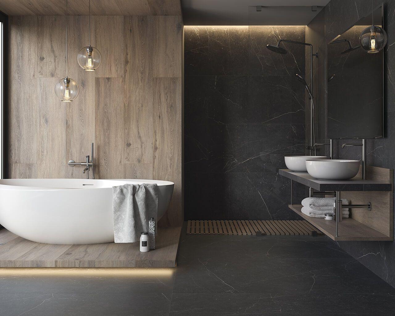 Motyw Czarnego Marmuru Na Podłodze Ekskluzywnej łazienki