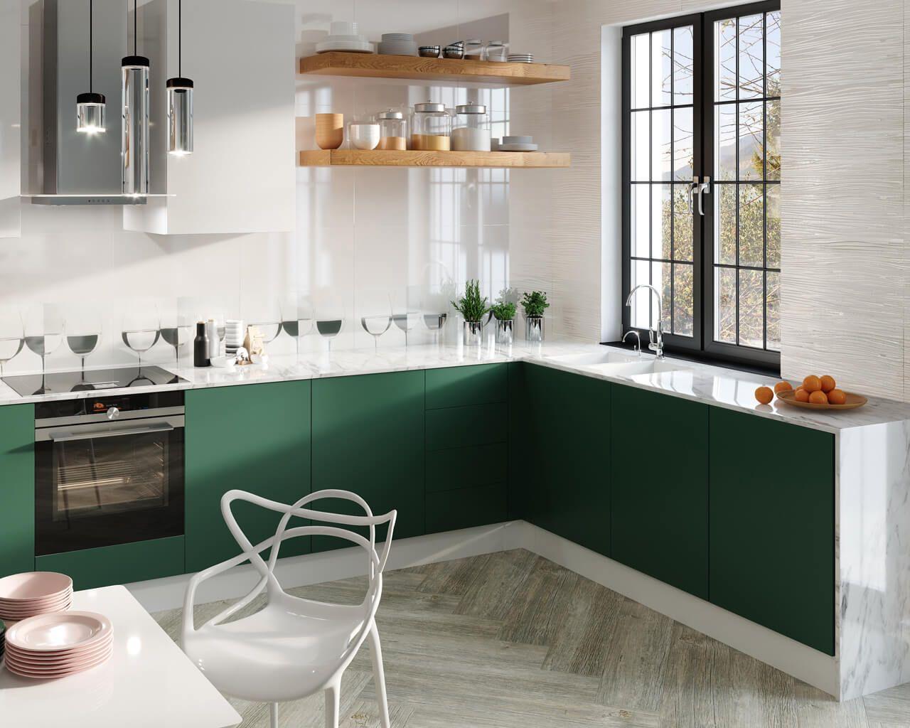 Biało Zielona Kuchnia Pełna życia Ceramika Paradyż