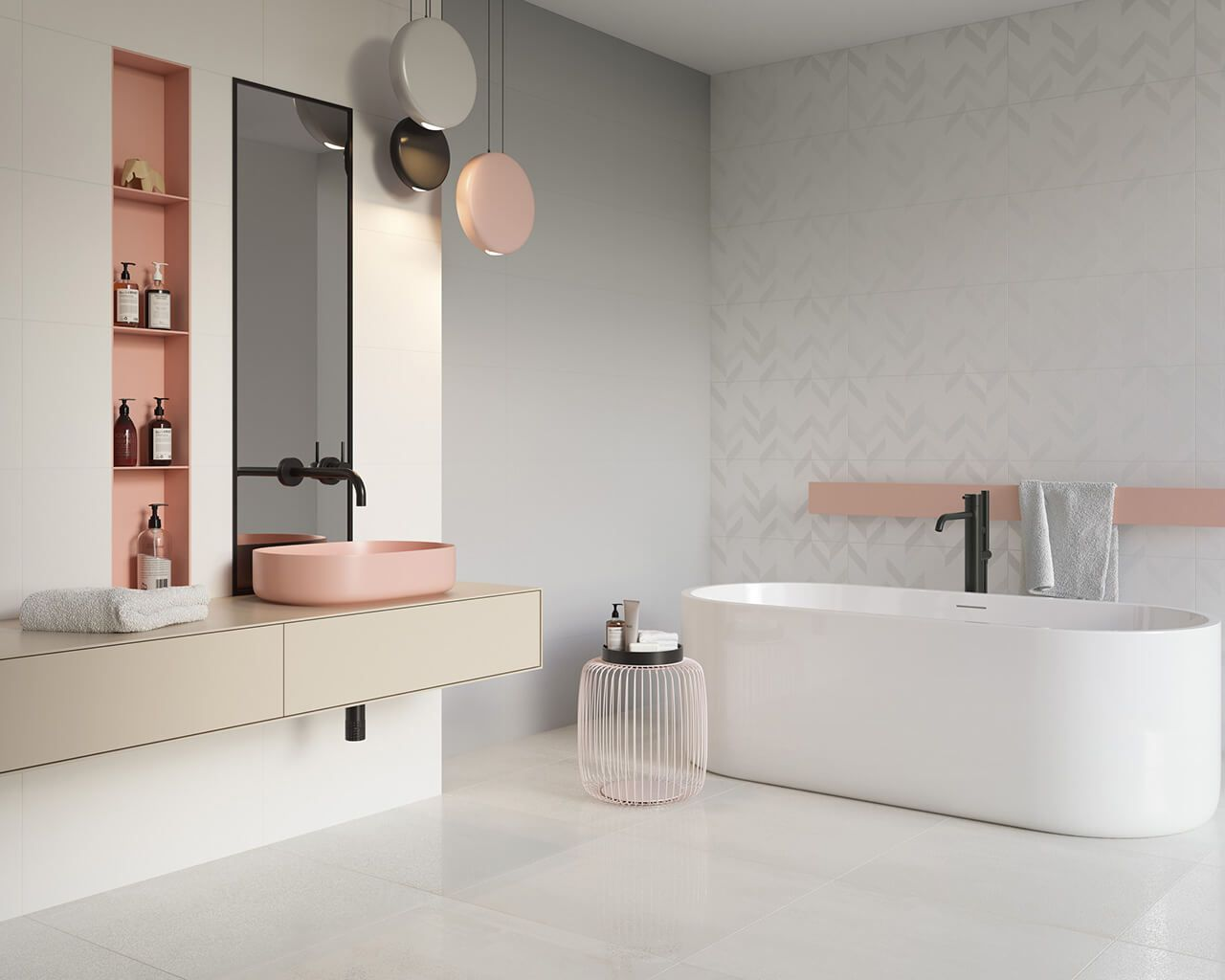 Bright bathroom in candy colours | Ceramika Paradyz