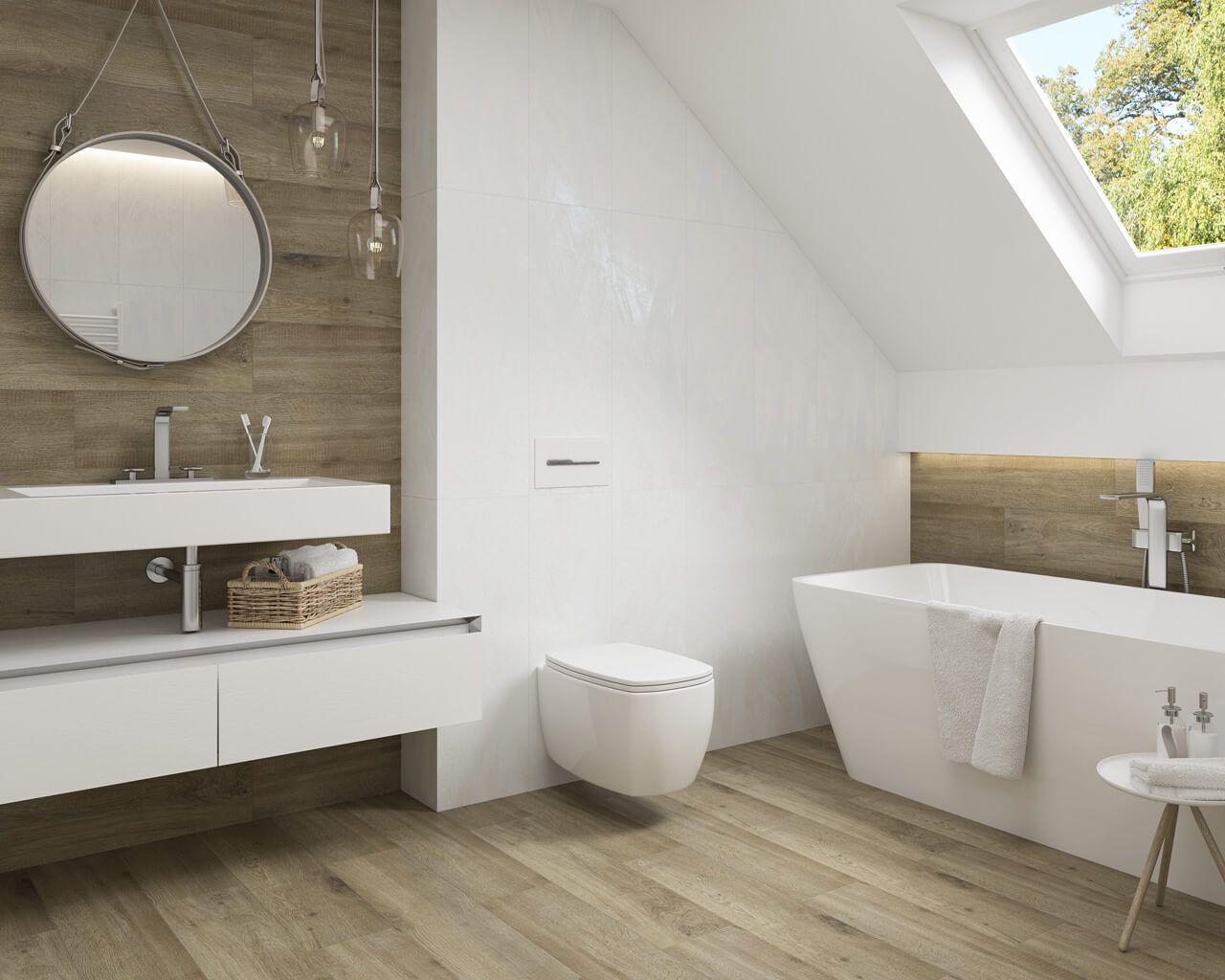 Holz Und Weiß Im Bad Unterm Dach
