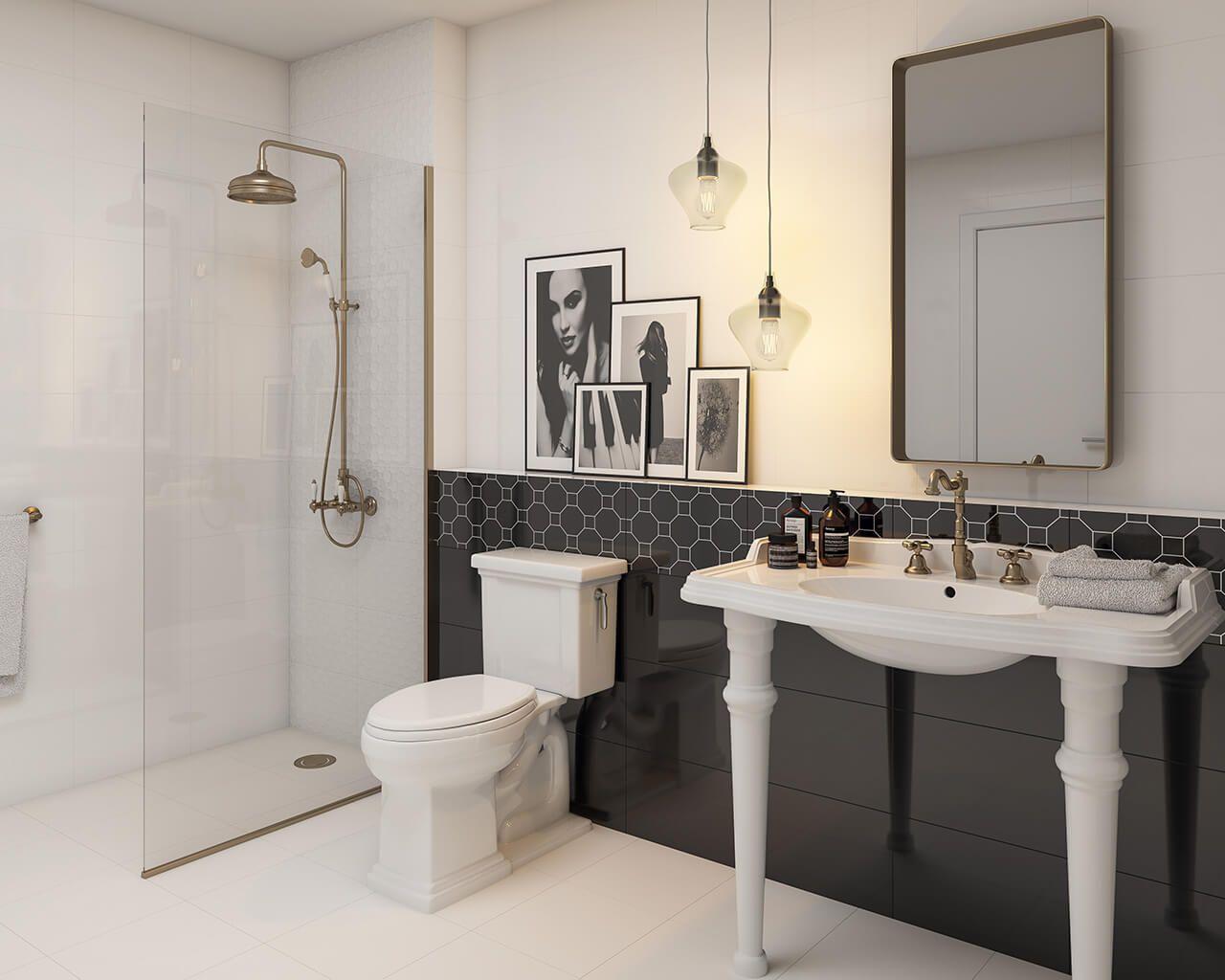Schwarz-Weiß-Eleganz im Badezimmer | Ceramika Paradyz