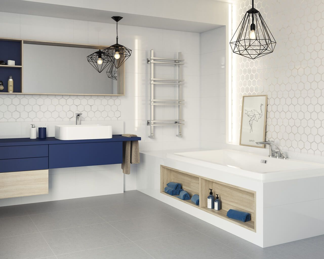 White bathroom with a blue accent and light geometry   Ceramika Paradyz