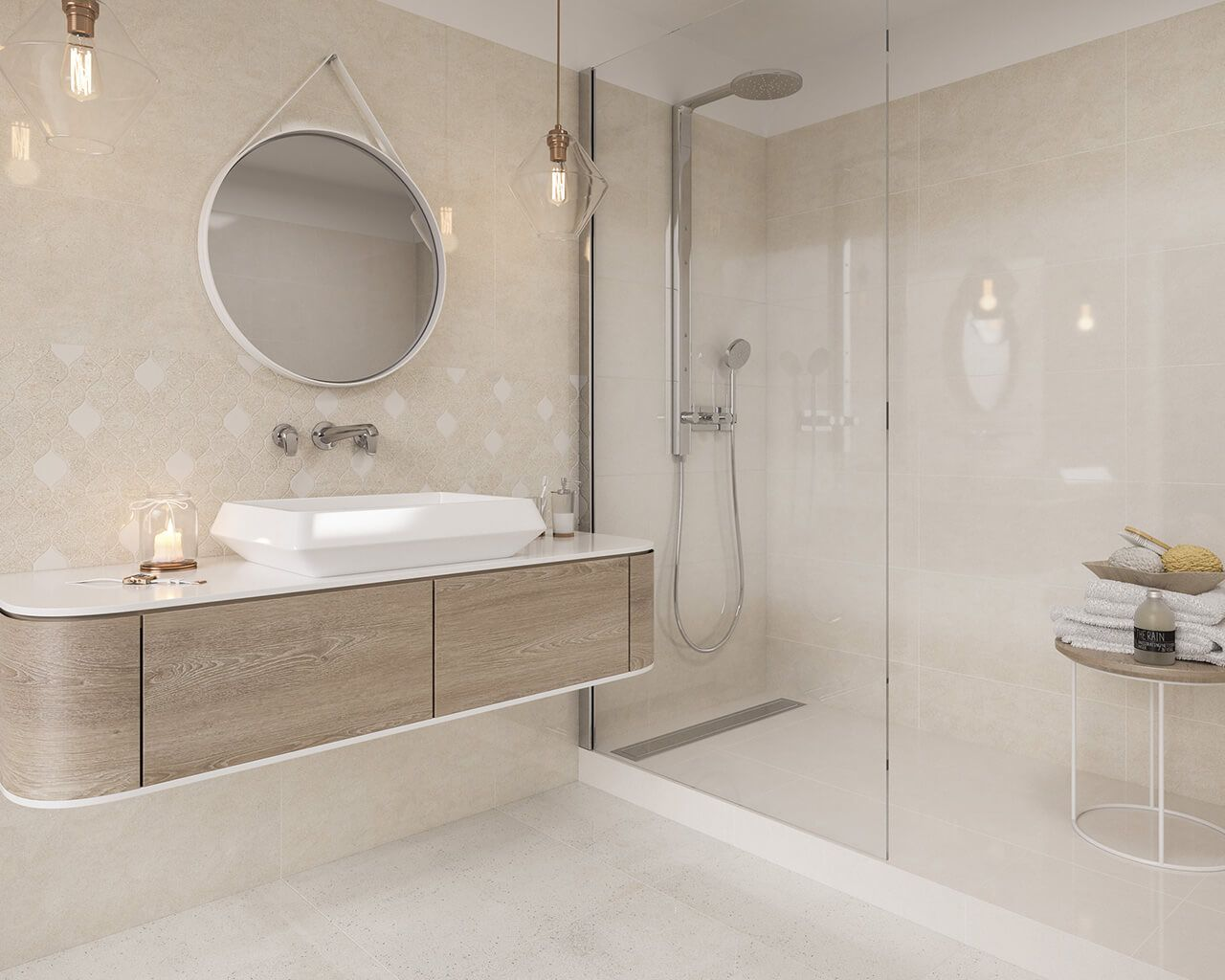Subtle White And Beige Bathroom With A Walk In Cabin
