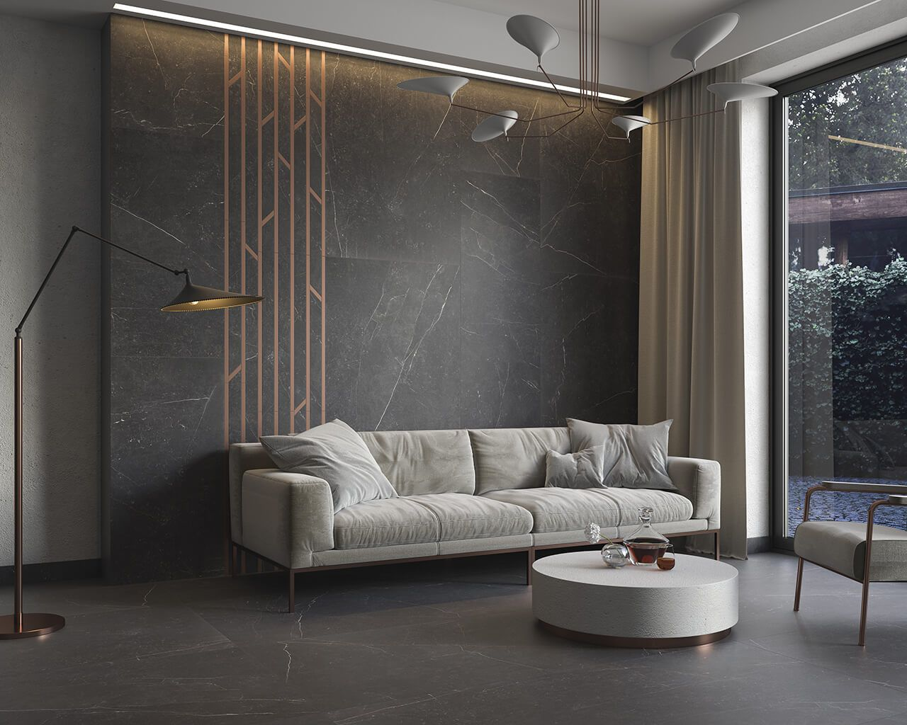 Exclusive Living Room With Black Marble In The Leading Role Ceramika Paradyz