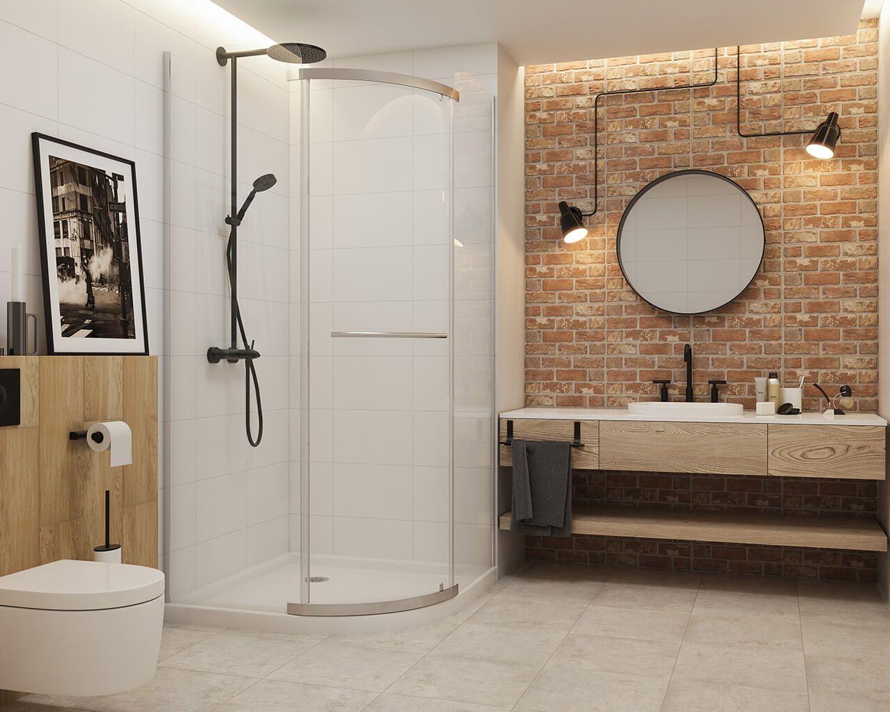 Przestronna jasna łazienka w stylu loftowym z cegłą i ...