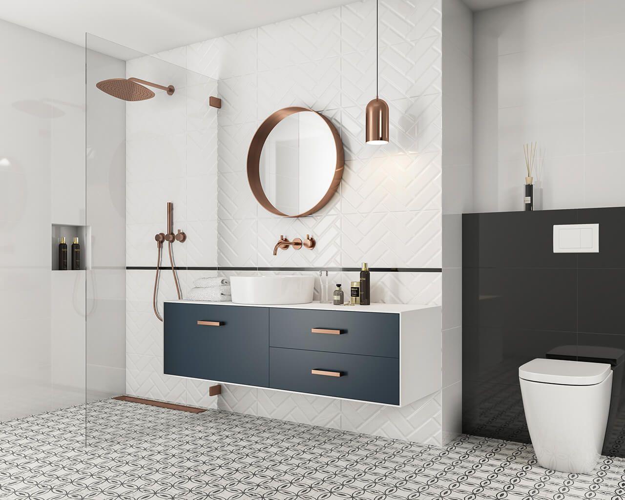 Błyszczące Białe Cegiełki I Wzorzysta Podłoga W łazience