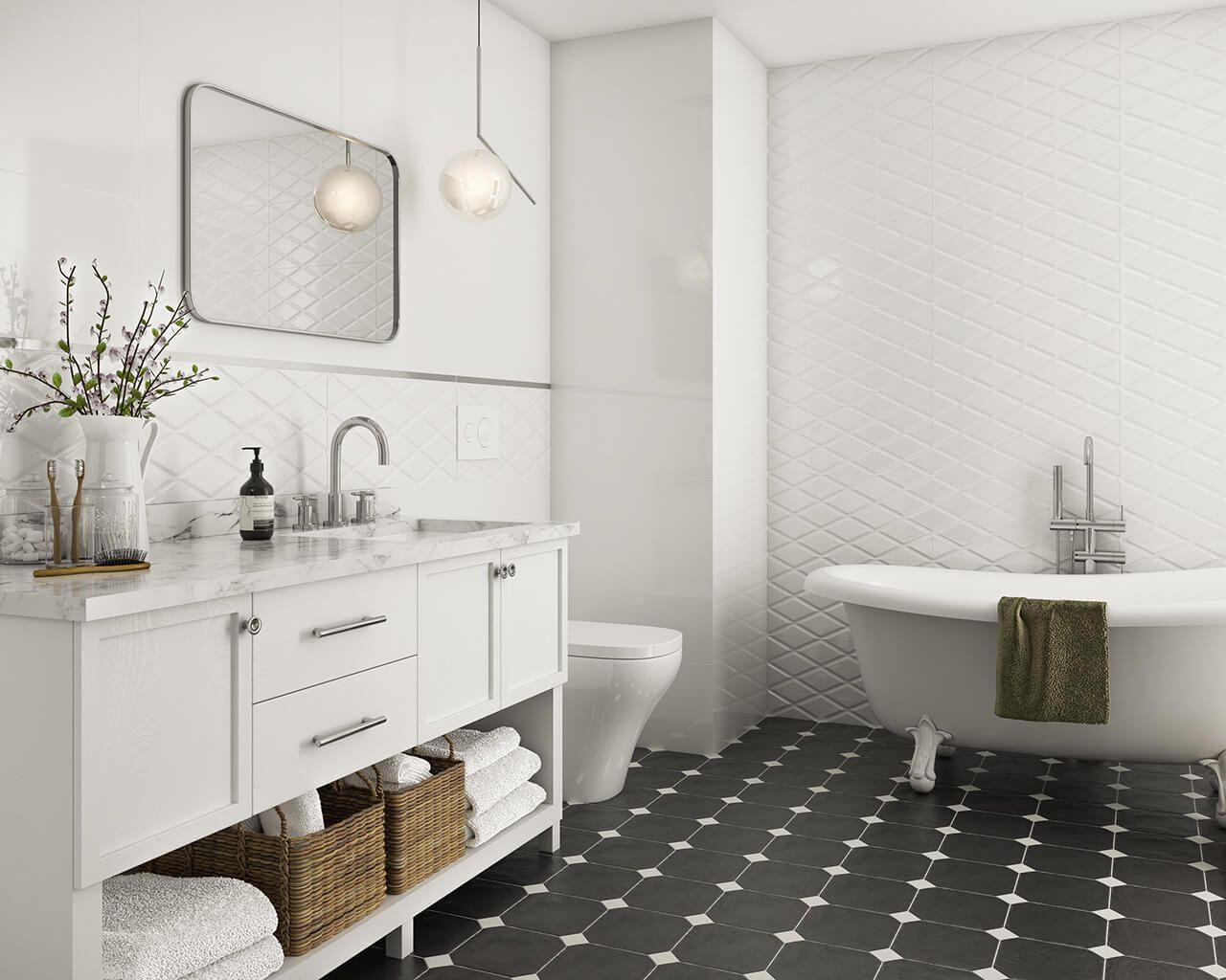 Nowoczesna Klasyka W Biało Czarnej łazience Ceramika Paradyż