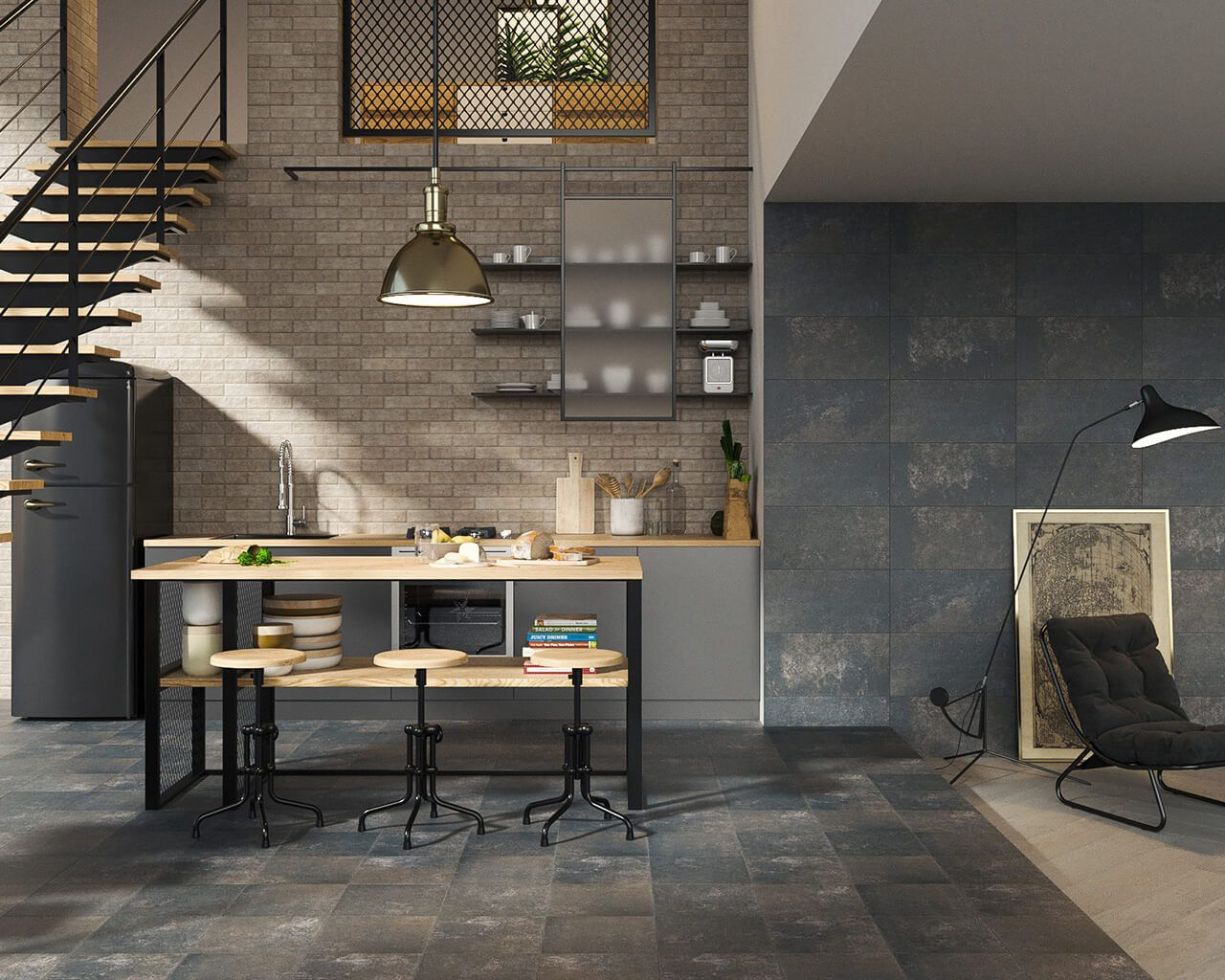 Living Room With A Kitchenette In The Industrial Style
