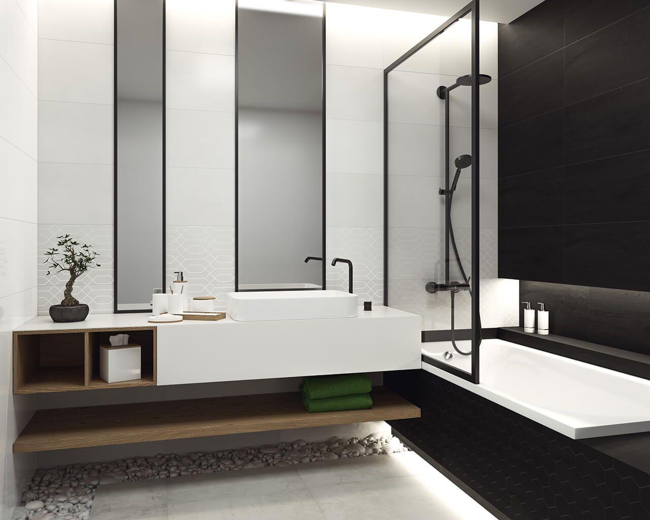 Czarno Biała łazienka Z Naturalnym Akcentem Ceramika Paradyż
