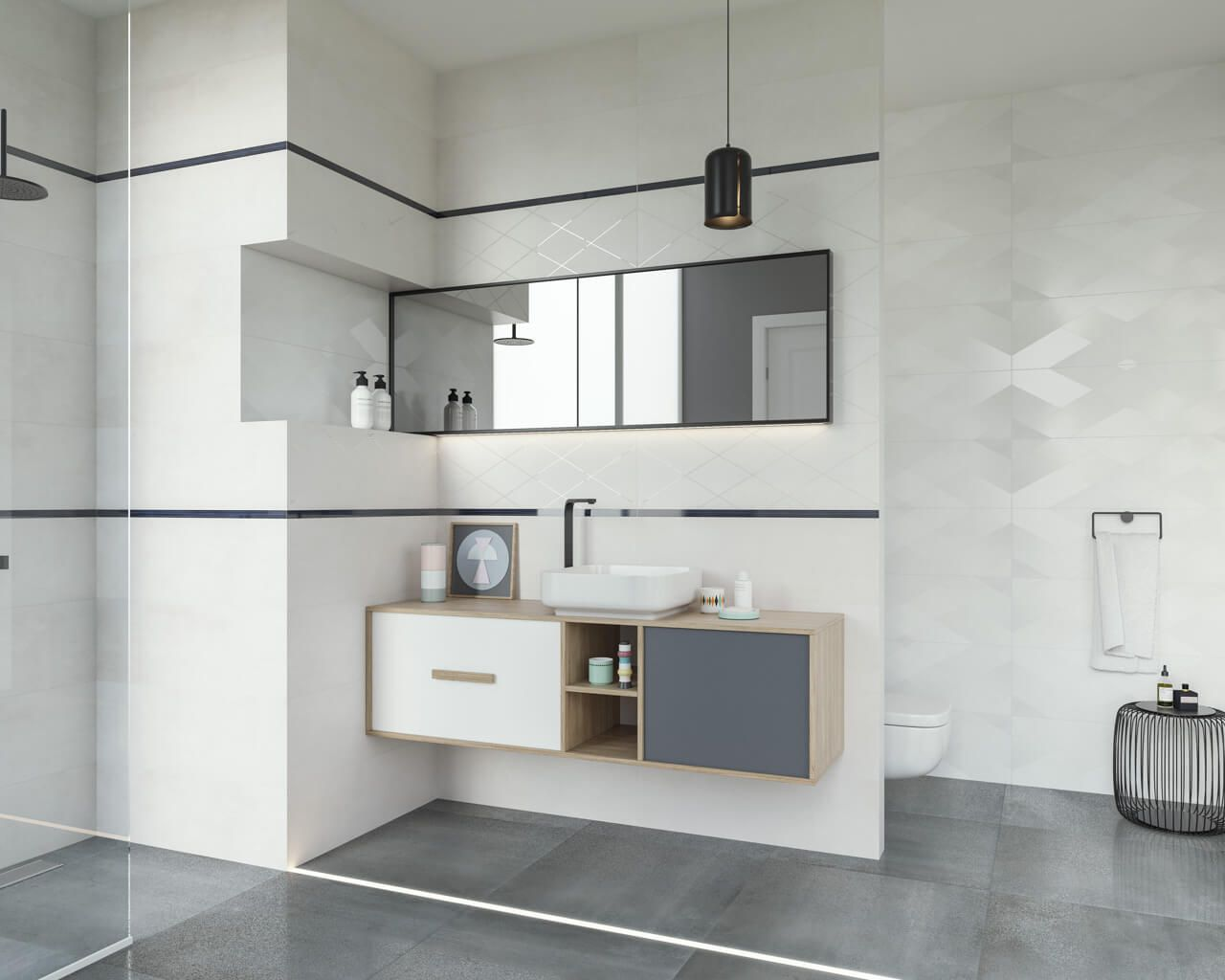 Subtelna Geometria W Biało Szarej łazience Ceramika Paradyż
