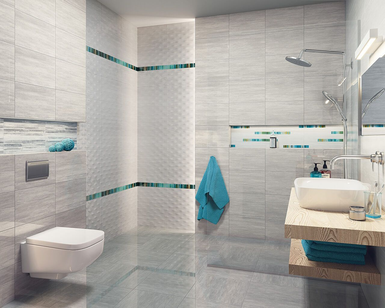 Light Grey Bathroom With Turquoise Decorations
