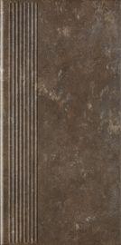 Ilario Brown Stopnica Prosta - Brązowy - 300x600 - напольная плитка - Ilario