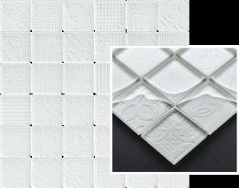 Tel Awiv Bianco Mozaika Szklana K.4,8X4,8  - Biały - 298x298 - декорации - Tel Awiv