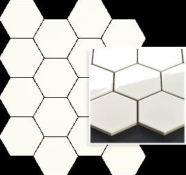 Uniwersalna Mozaika Prasowana Bianco Paradyż Hexagon - Biały - 220x255 - настенные плитки - Uniwersalne mozaiki prasowane