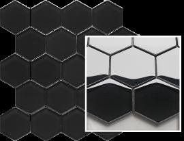 Uniwersalna Mozaika Szklana Paradyż Nero Heksagon  - Czarny - 258x280 - Mozaiki - Uniwersalne mozaiki szklane
