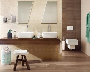 Eco łazienka z ciemnym drewnem i geometrycznymi dekoracjami