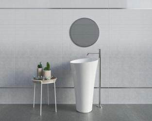 Koła i linie proste - pomysł na minimalistyczną, jasną łazienkę