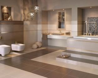 Beżowo-złoty salon kąpielowy