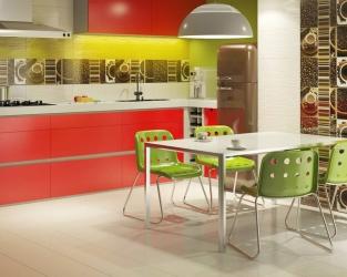 Soczyście kolorowa kuchnia z jadalnią
