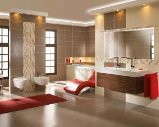 Salon kąpielowy w odcieniach beżu i brązu, z kwiatowymi dekoracjami