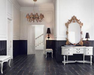Biało-czarny hall w stylu glamour