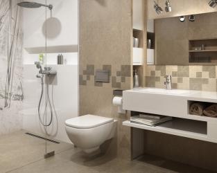 Nowoczesna, niewielka łazienka z natryskiem, w matowych beżach