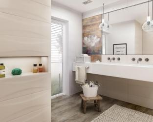 Jasna łazienka w stylu hygge z oknem