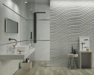 Jasna, kamienna łazienka z geometryczną strukturą fal