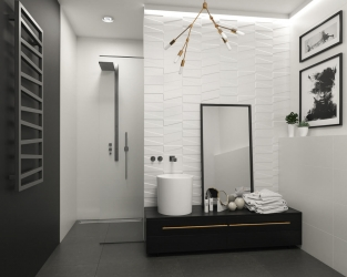 Nowoczesna elegancja w biało-czarnej łazience
