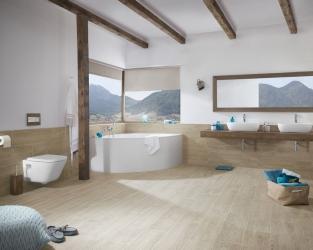 Przestronna, jasna łazienka w stylu skandynawskim