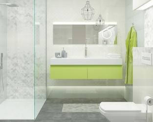 Nieduża jasnoszara łazienka w stylu minimalistycznym