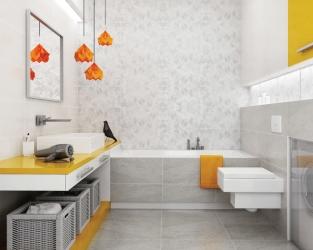 Jasnoszara, niewielka łazienka z odrobiną ekstrawagancji