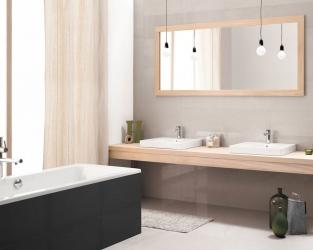 Biel, szarość i drewno w minimalistycznej łazience