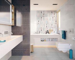 Biało-szara łazienka średniej wielkości, z wanną
