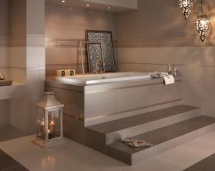 Salon kąpielowy w odcieniach beżu, brązu i złota