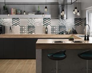 Ciepły minimalizm szaro-czarno kuchni z dodatkiem błękitu