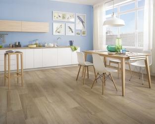 Jasna kuchnia w stylu skandynawskim z ceramicznymi deskami podłogowymi