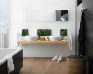 Skandynawski minimalizm w biało-czarnej łazience